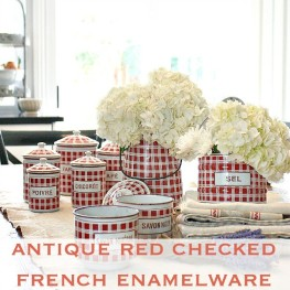 Red & White Check Antique French Enamelware