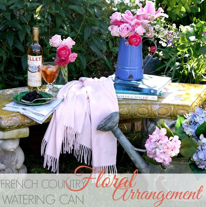 FRENCH COUNTRY WATERING CAN FLORAL ARRANGEMENT