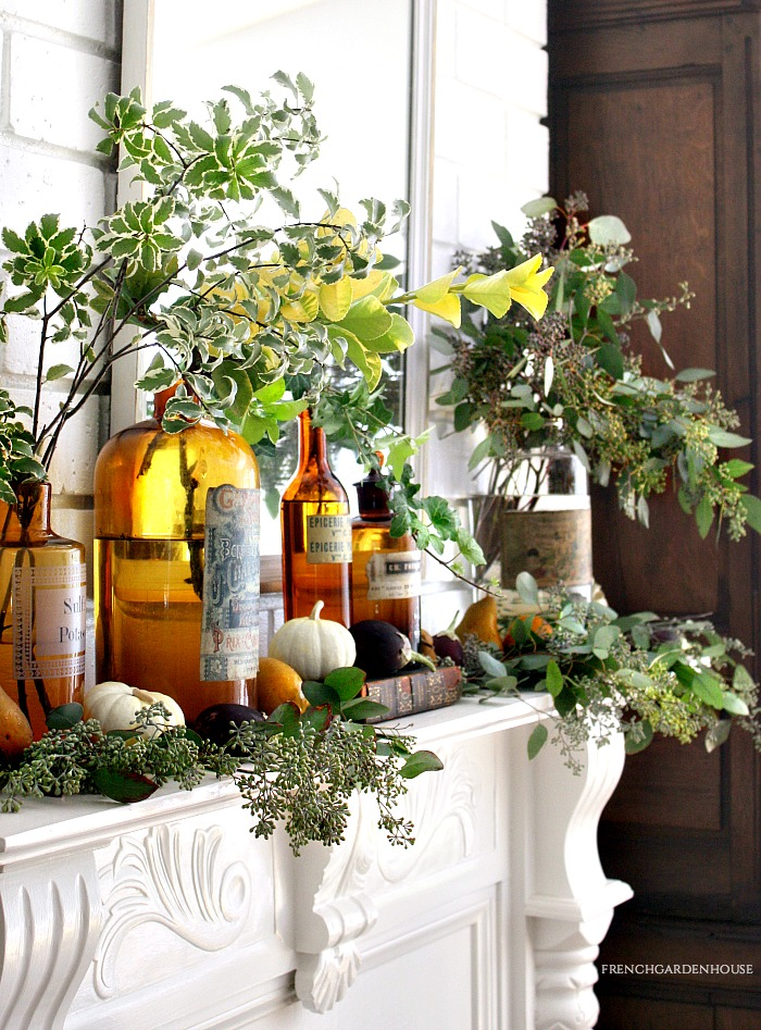 fall mantel with candles