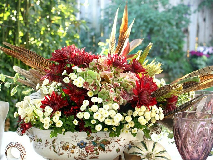 Autumn Table and a Fine Feathered Centerpiece
