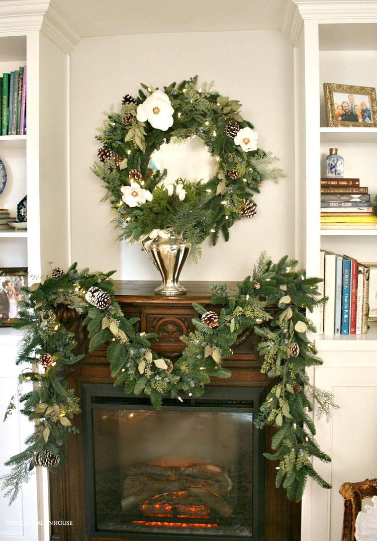 pine garland for fireplace mantel