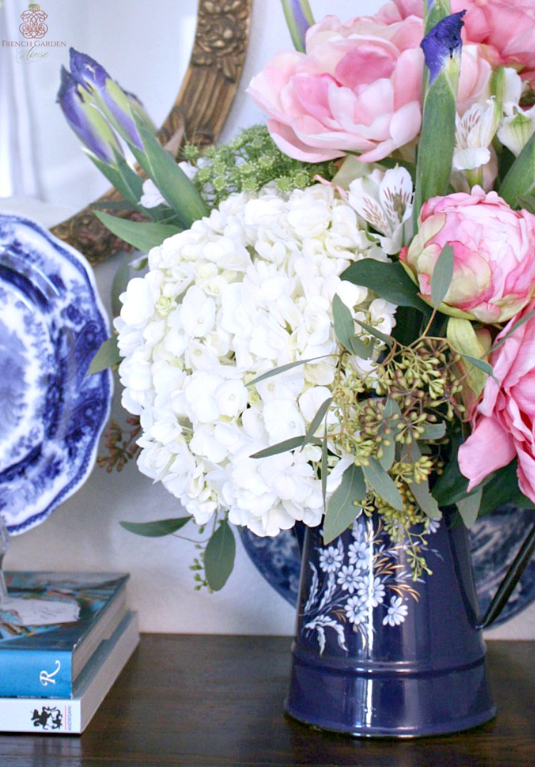 antique-french-coffee-pot-with-hydrangea-iris-peonies