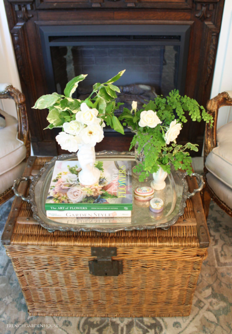 silver tray with vases