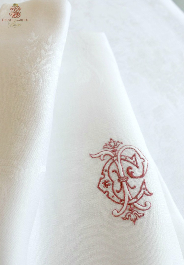 French antique white napkins with royal Red monogram