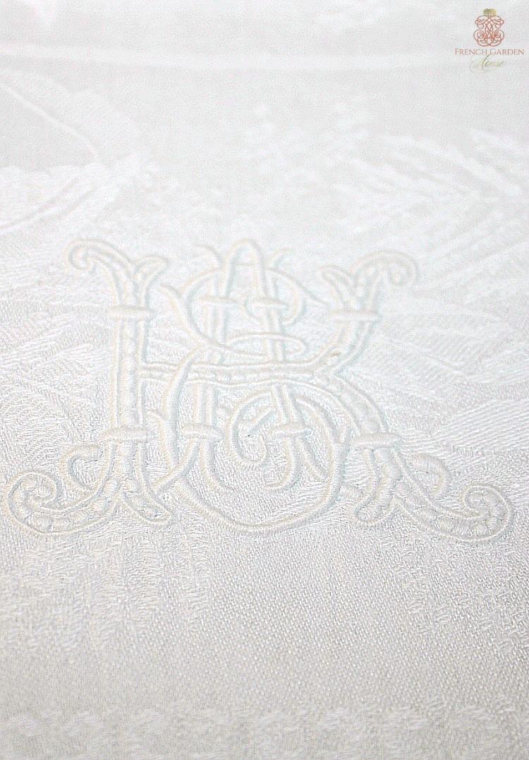 Antique French Hotel Monogram linen towel