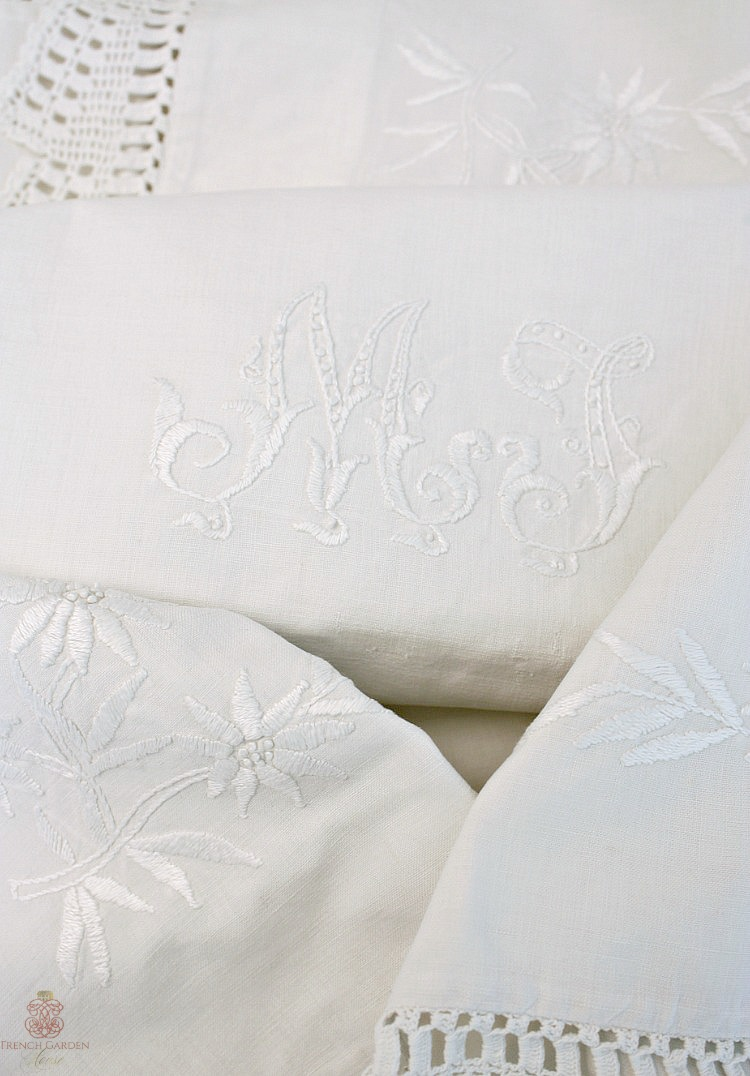 Antique Victorian lace edged monogrammed pillowcases