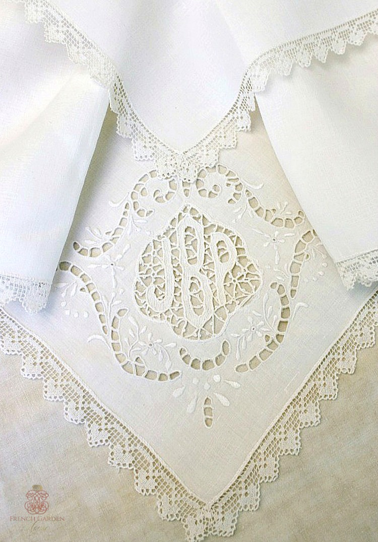 Antique French lace monogram napkin
