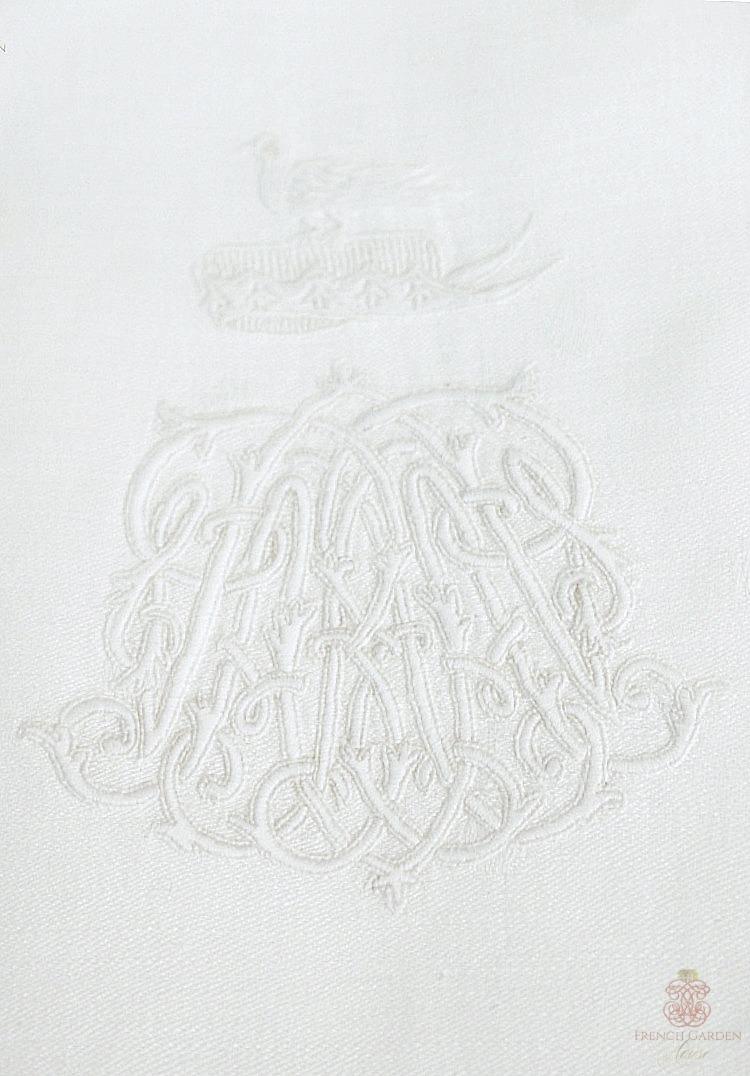 Antique Russian Nobility Monogram Napkin Set