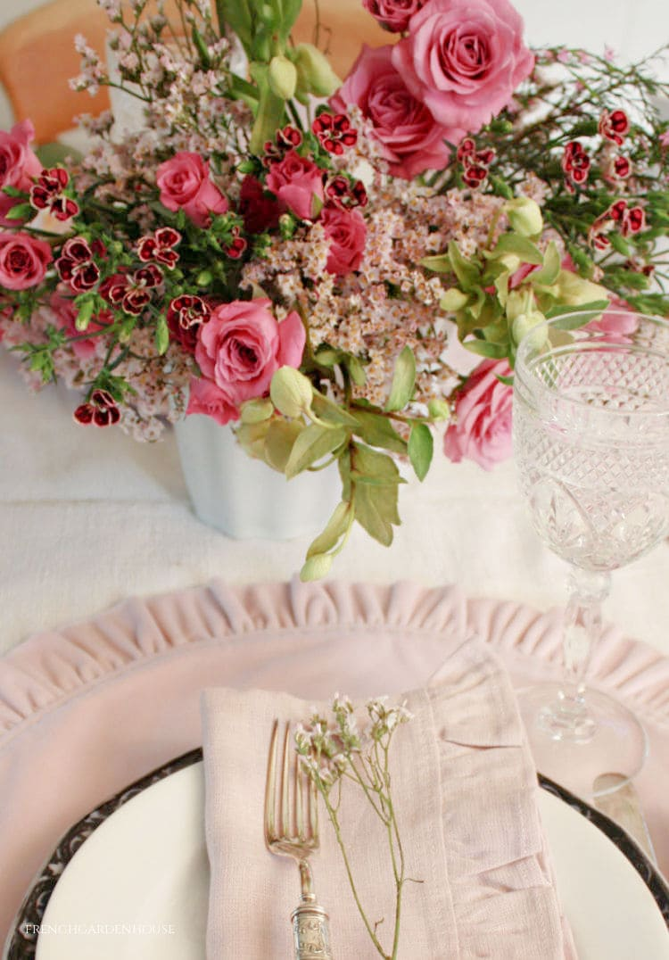 pink spring French Country tablesetting