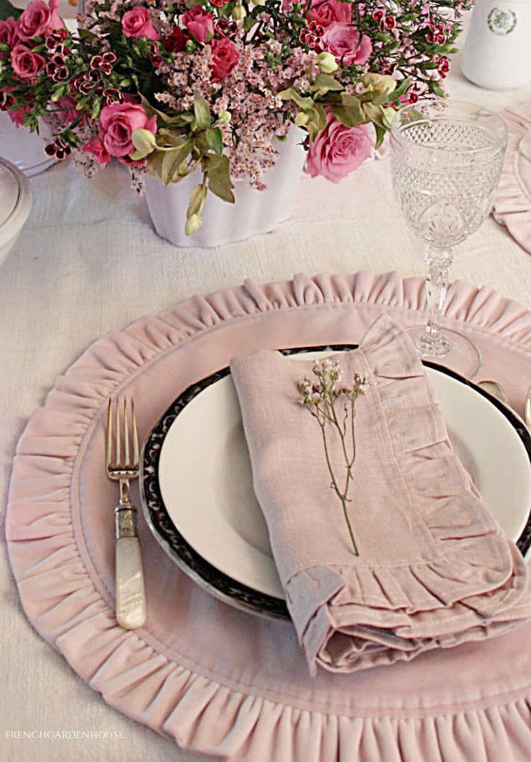 pink table setting for spring