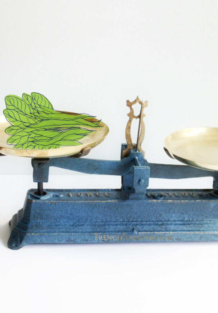 blue antique French scale