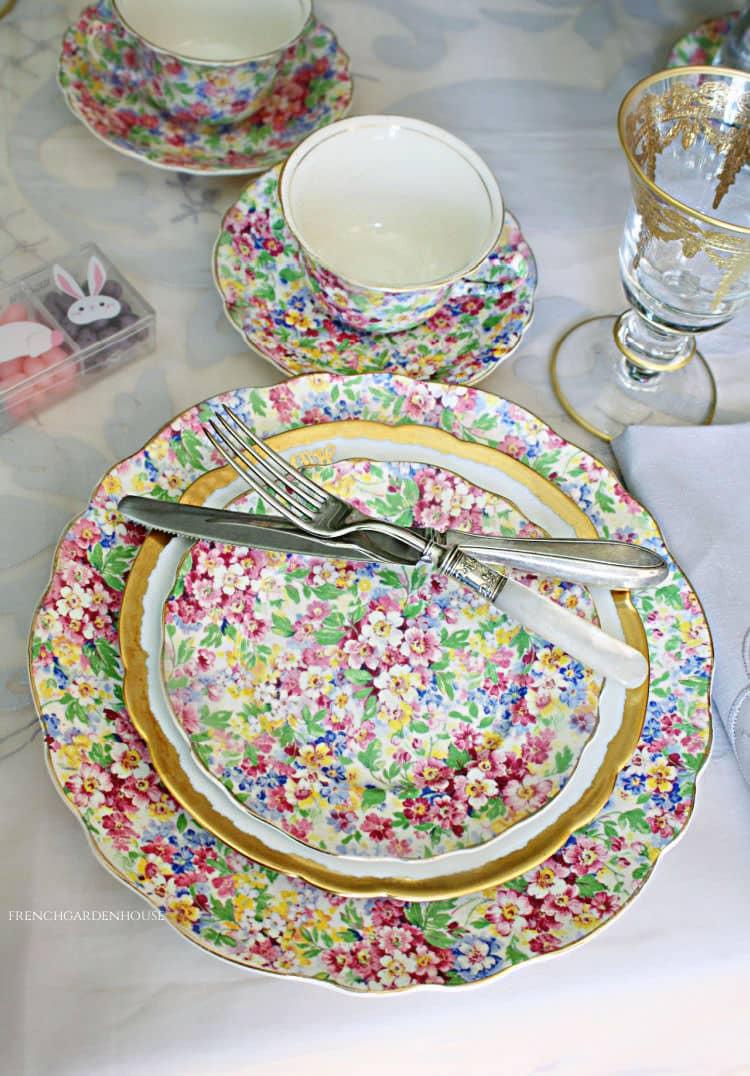 Antique floral chintzware