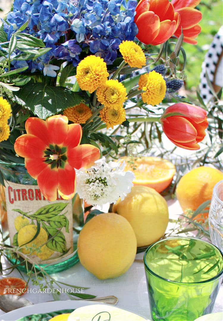 Orangerie Inspired Flower Arrangement and Luncheon Table