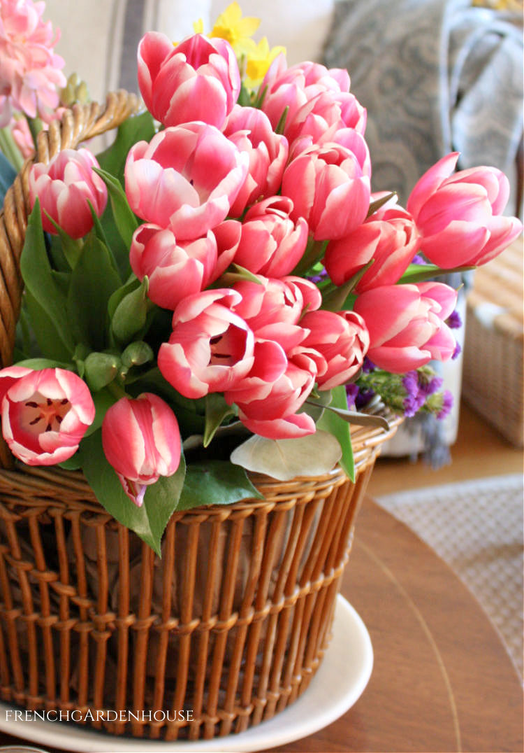 Fresh Spring Flowers in a French Basket