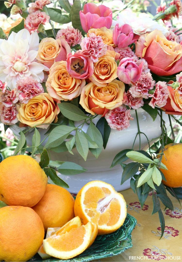 citrus colored floral arrangement