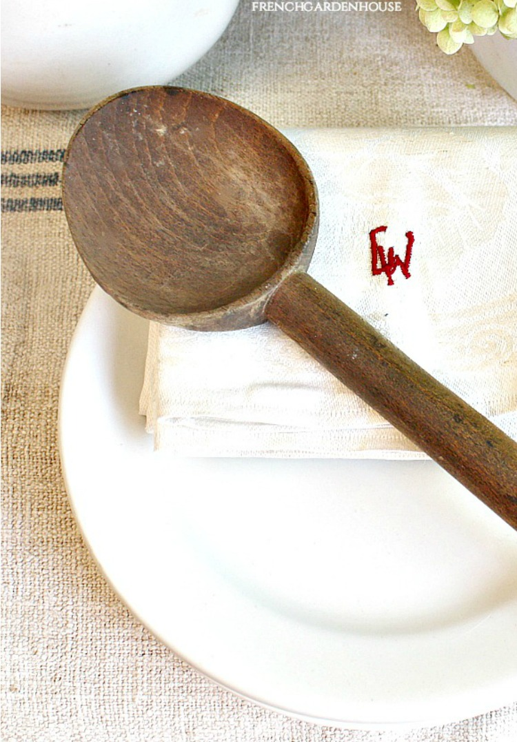 antique french wood spoon