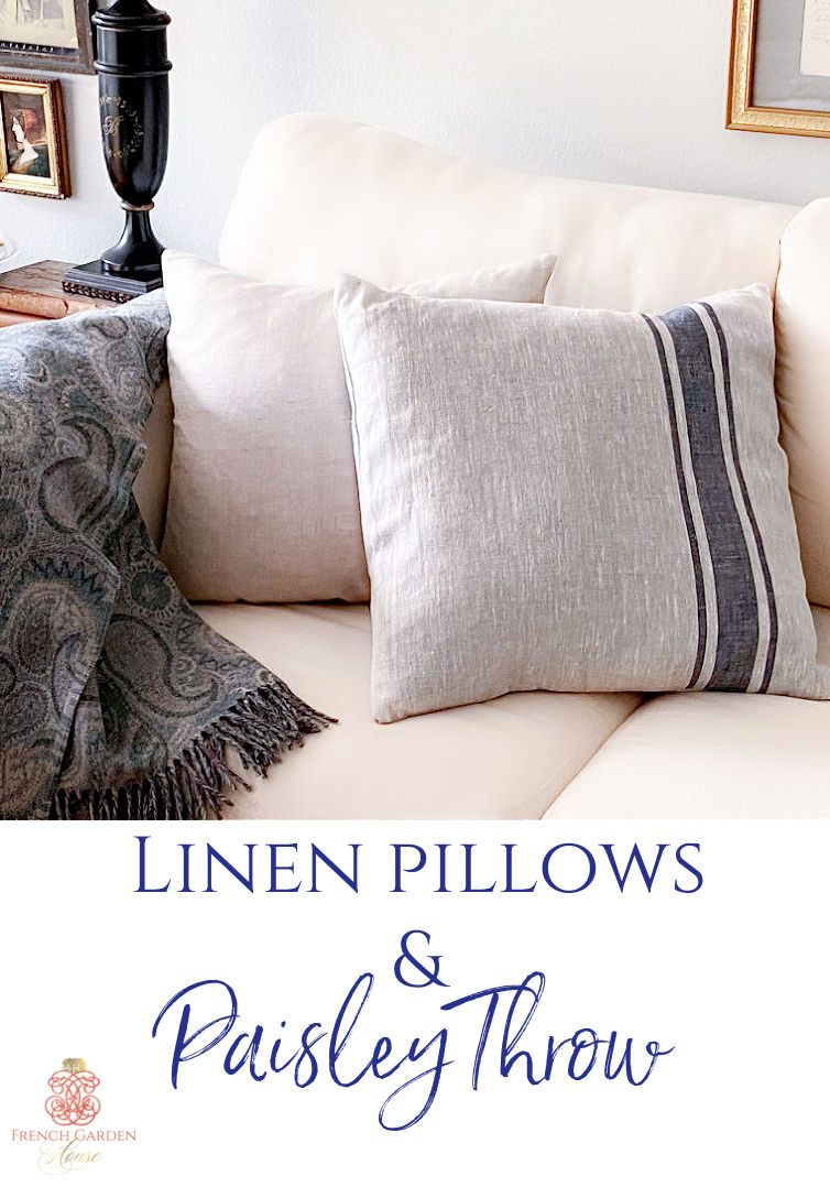 linen pillow and paisley throw