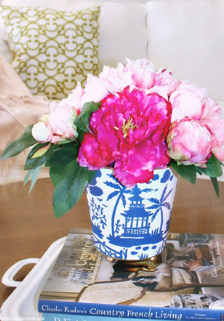 pink and peonies in chinoiserie