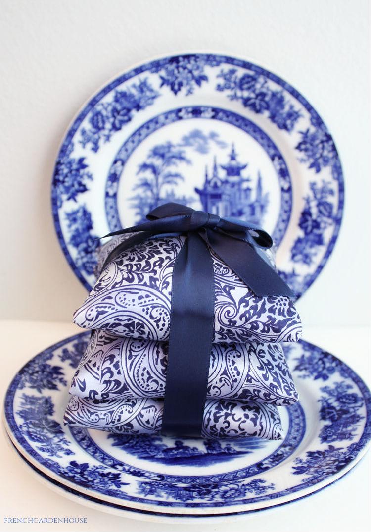 blue silk sachets