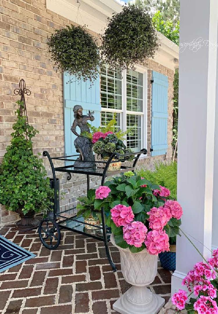pink hydrangeas on porch