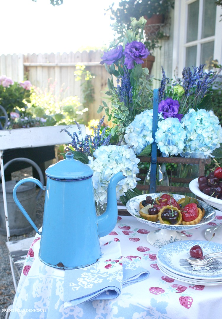 antique french enamelware blue