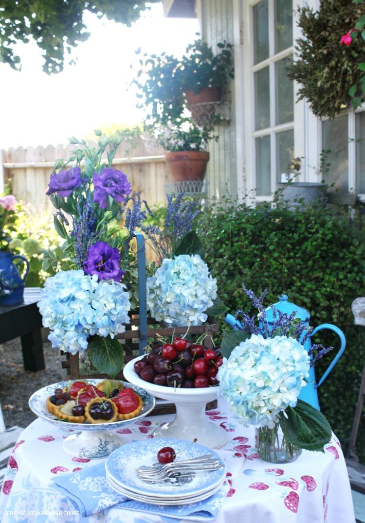French garden house with hydrangeas