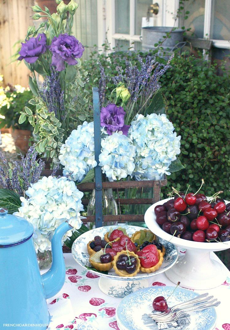 hydrangeas and lavender bouquets
