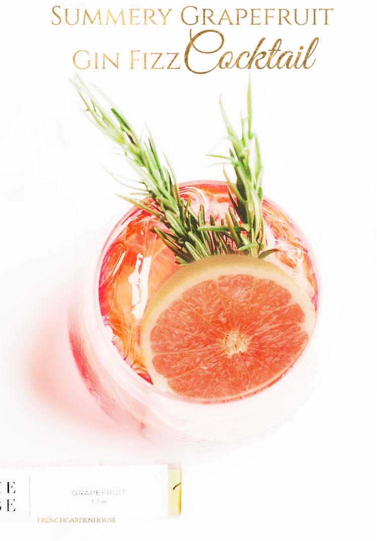 Summery Grapefruit Gin Fizz Cocktail