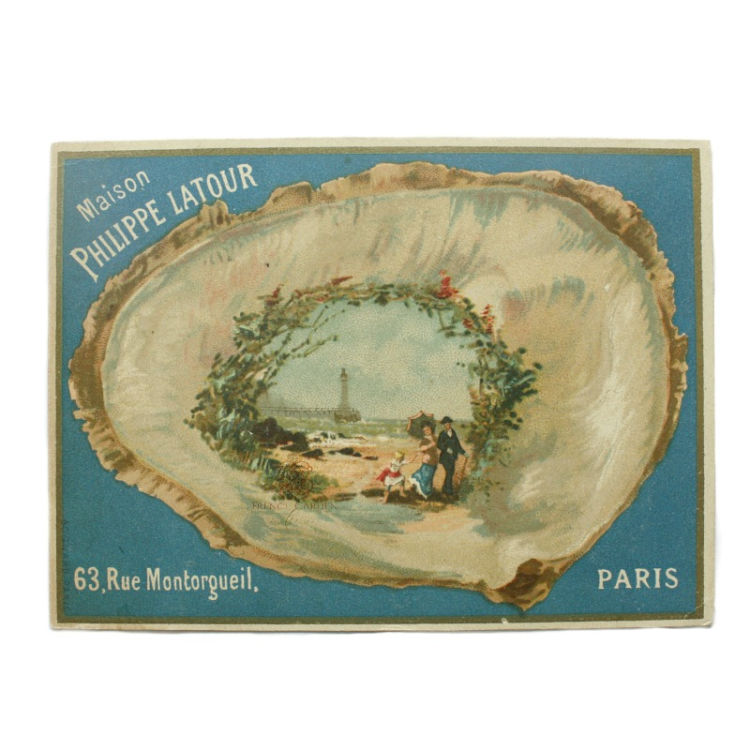 Antique French shell card