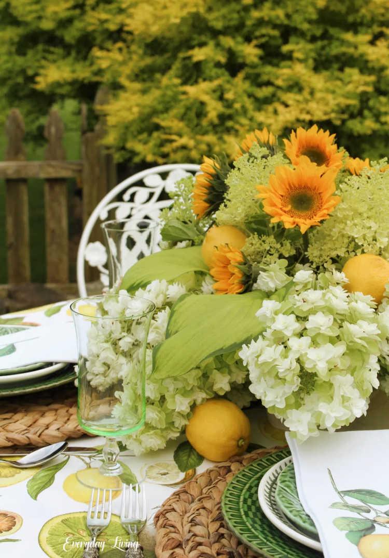sunflowers and lemons flower arrangement