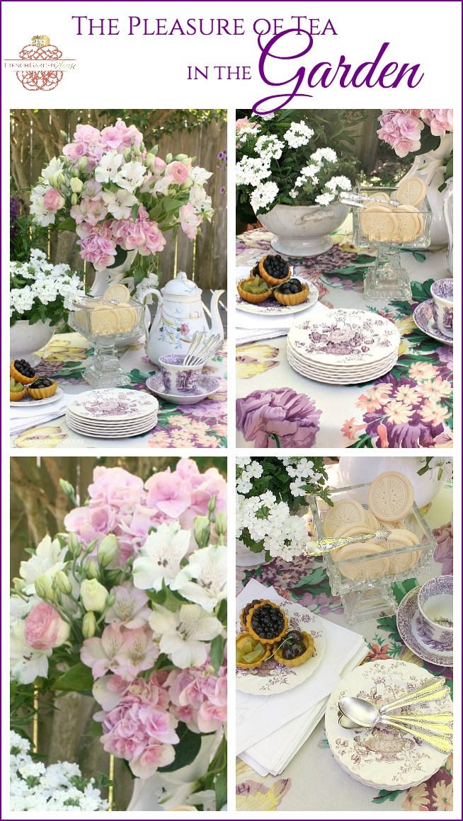 purple and lavender tea table