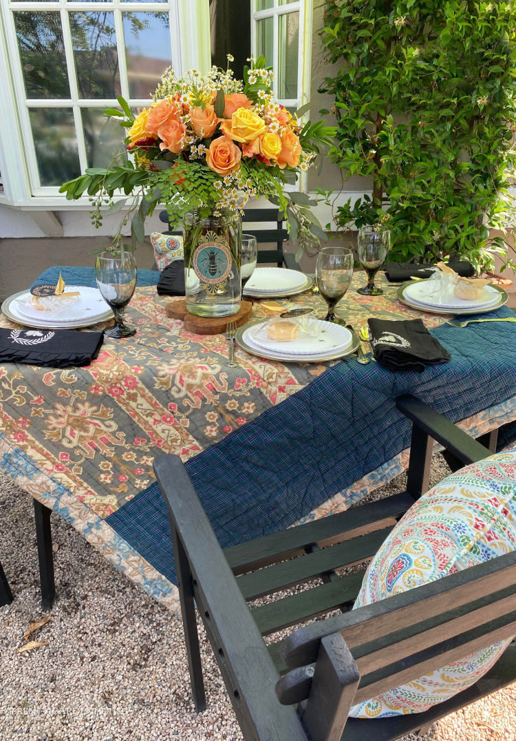 quilt covered summer table