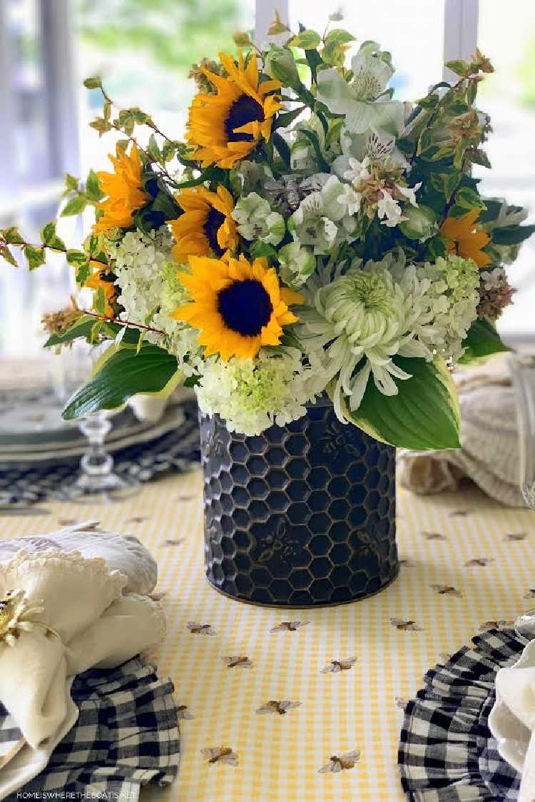black honey bee vase