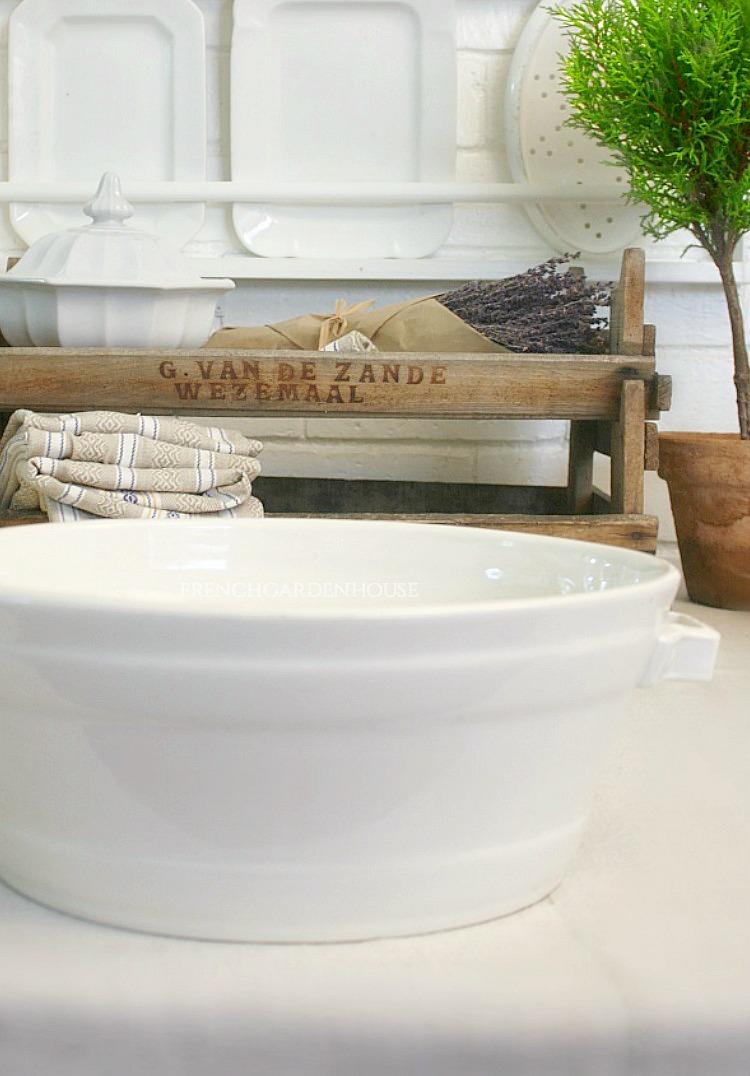 antique white ironstone