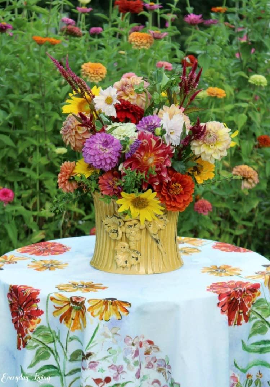 fall flowers in garden setting