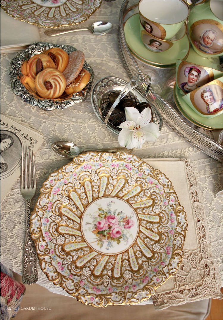 antique gilt encrusted plates roses