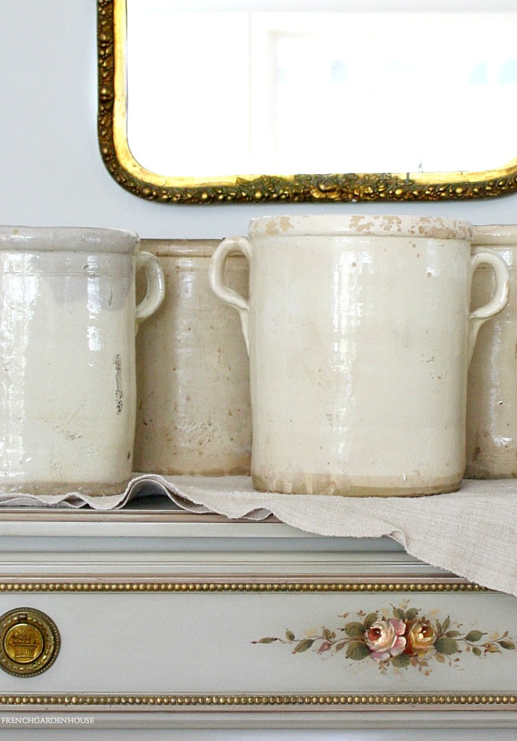 antique french cream sardine pots