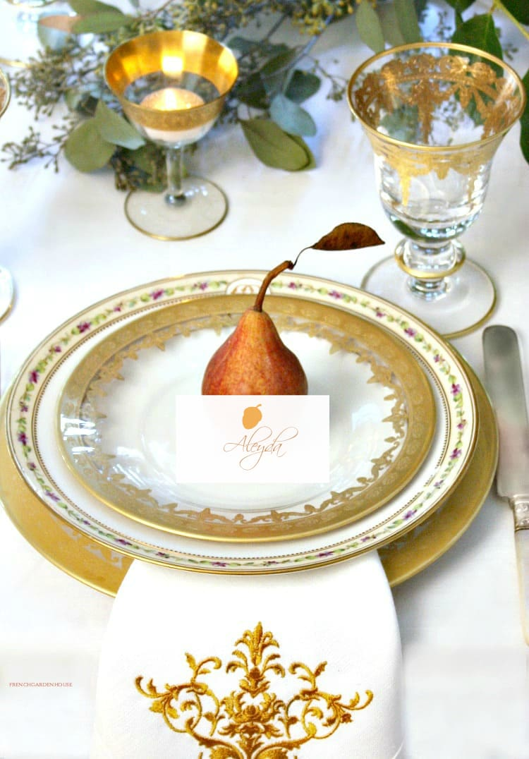 gold table setting for fall