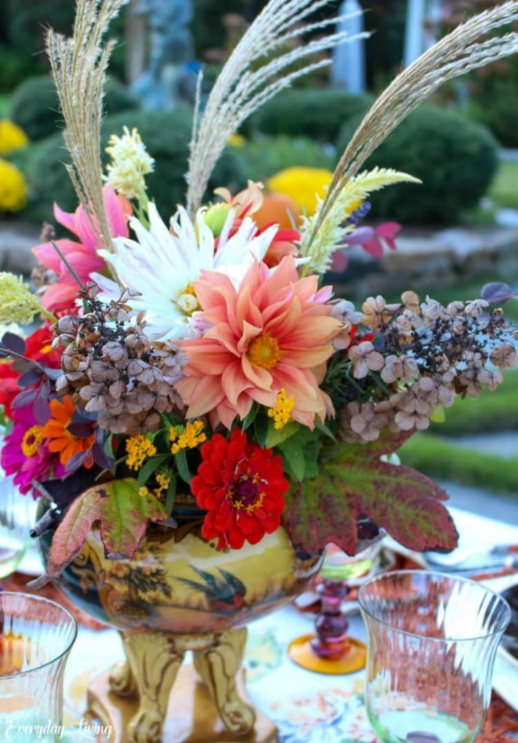 fall flower centerpiece with pampas grass