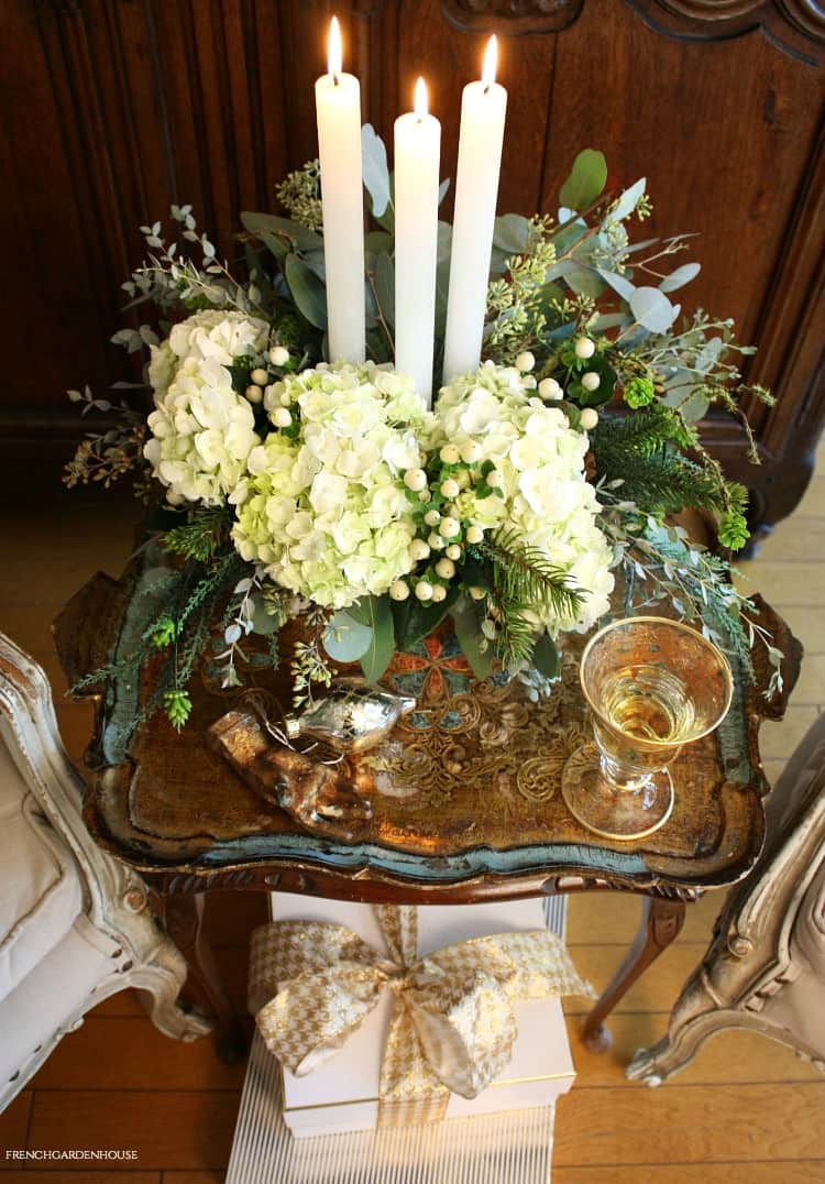 french jardiniere with holiday flowers