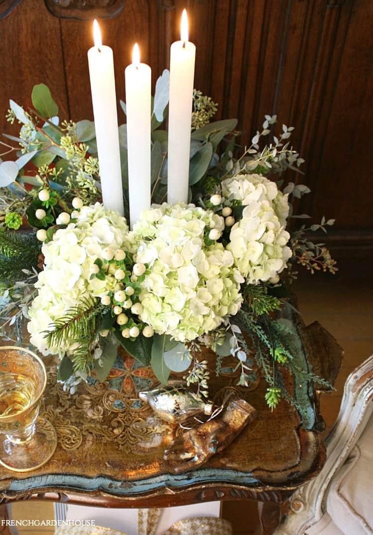 White Christmas Flowers French Country centerpiece