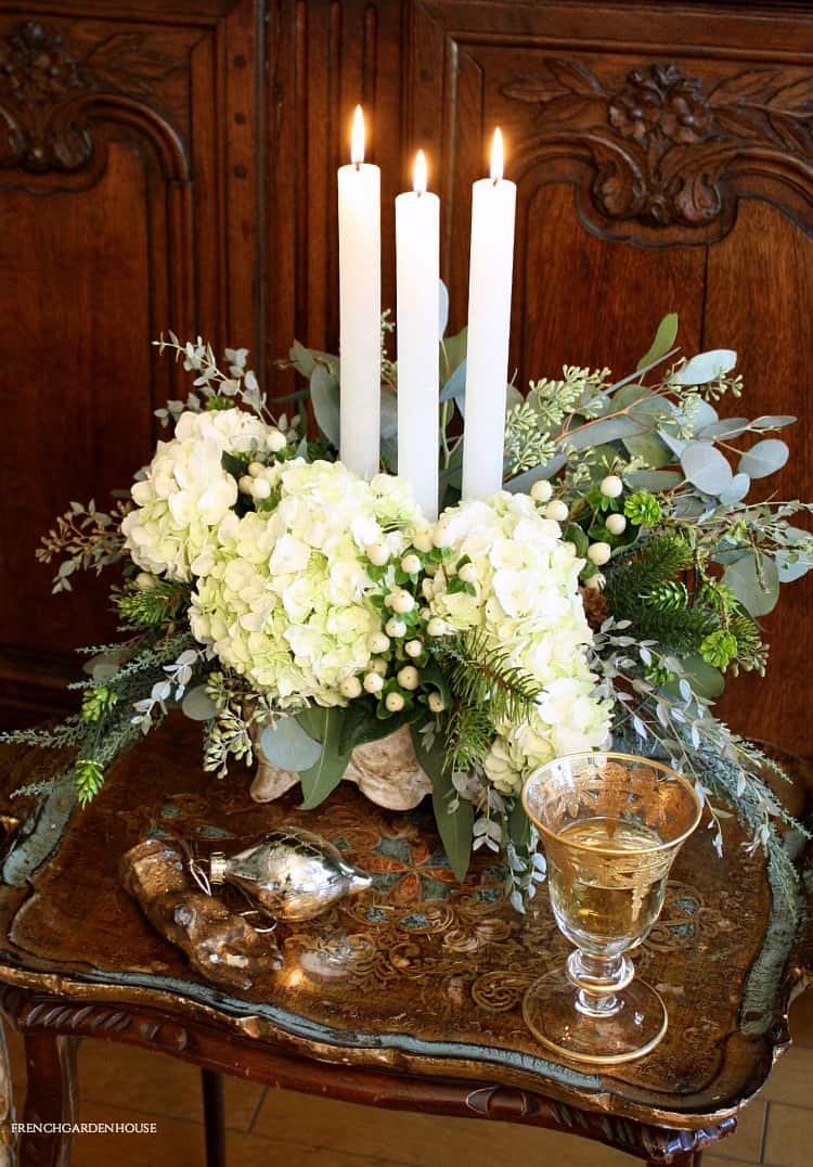 White Christmas Flowers French Country Style