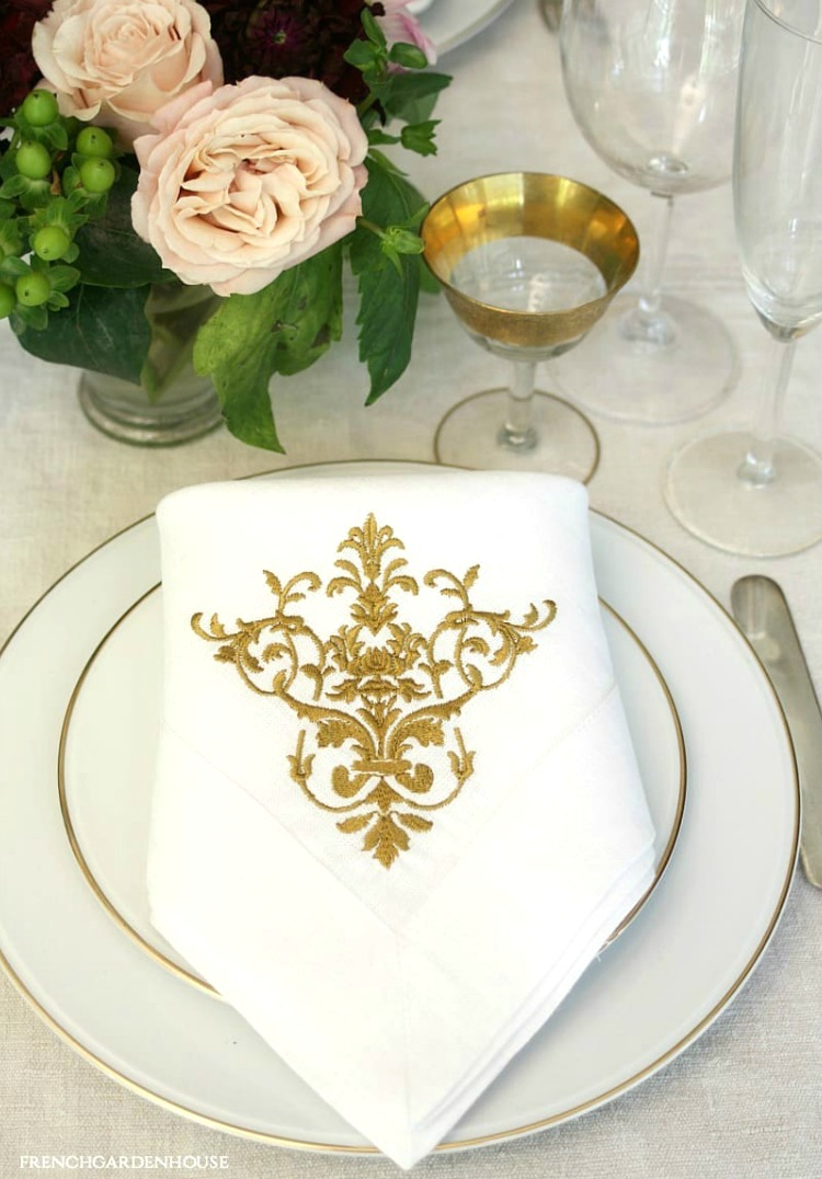 fall table setting with French gold napkins