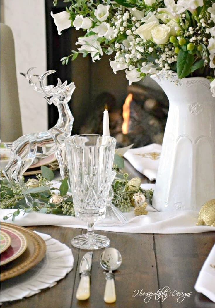 christmas table with white pitcher