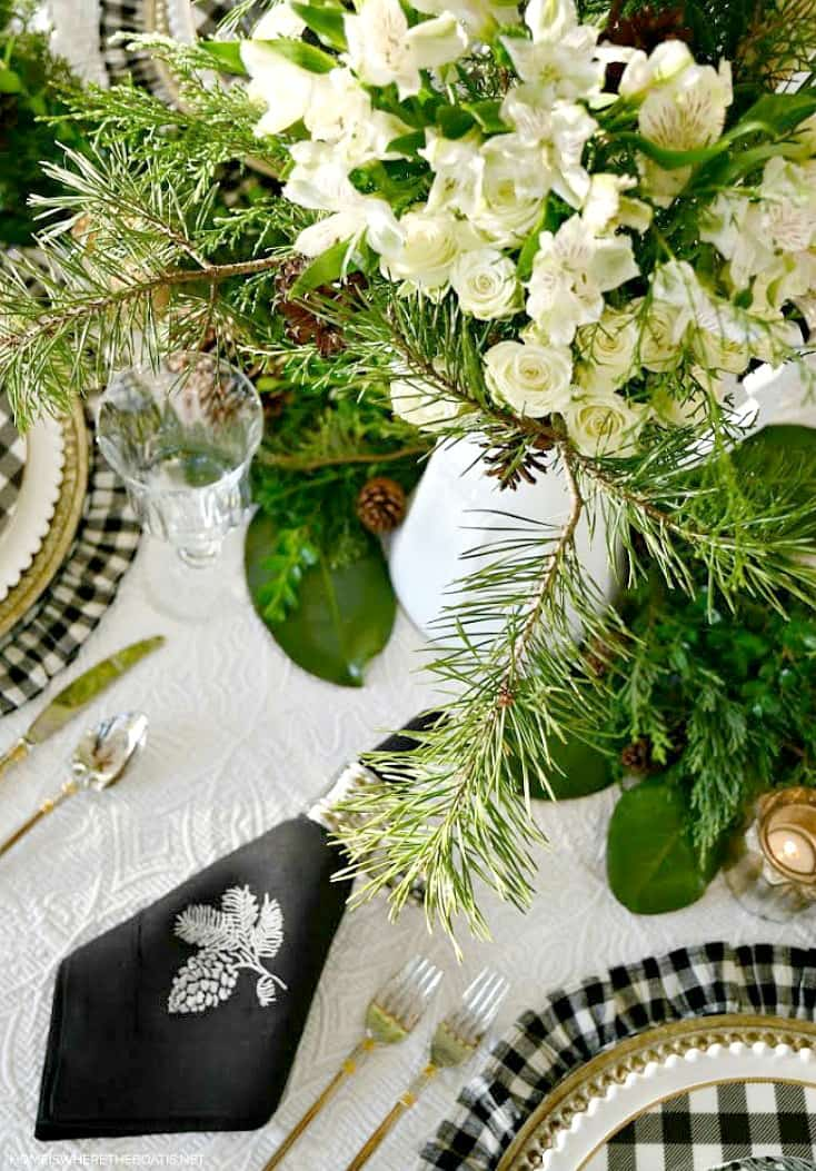 Christmas table setting with linens