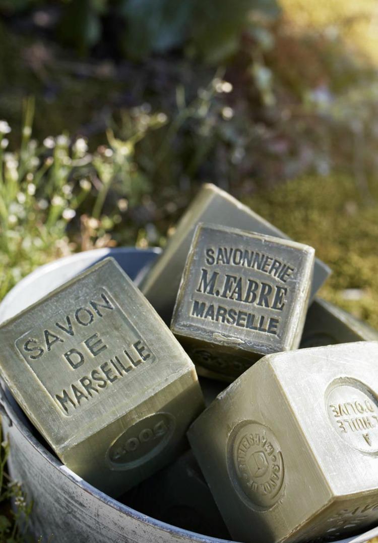olive oil savon de marseille soaps in bucket