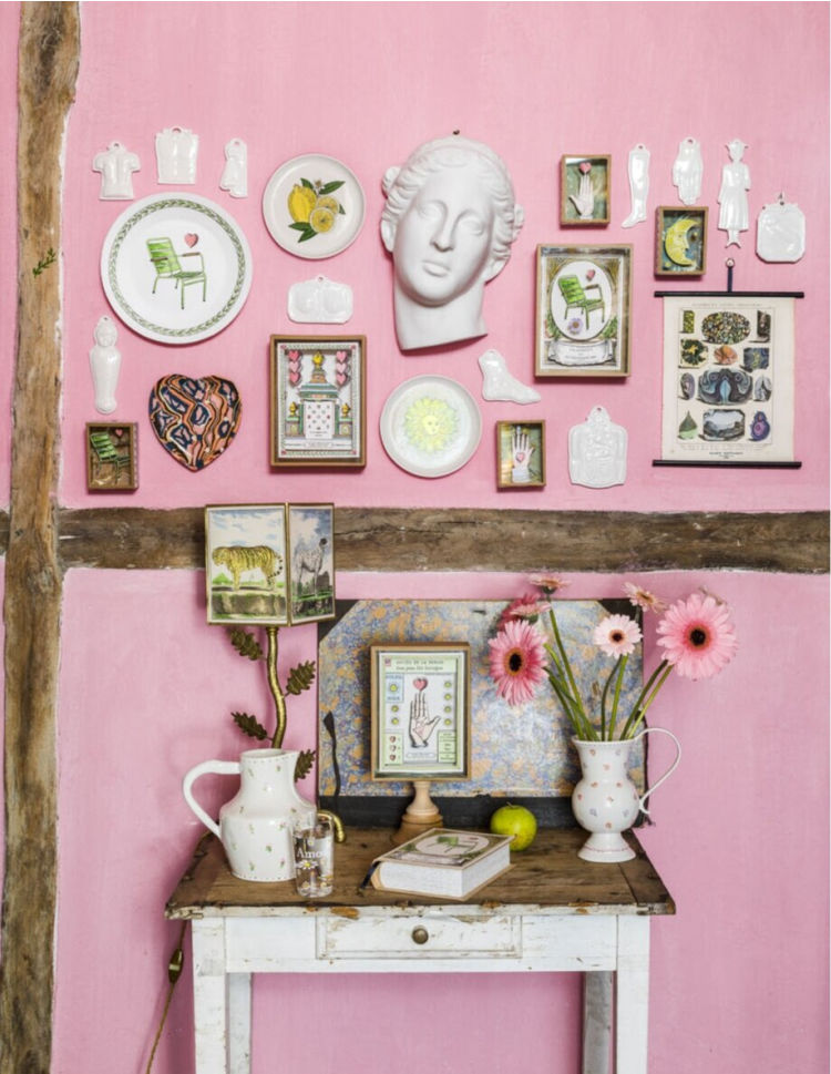 pink wall of inspiring products