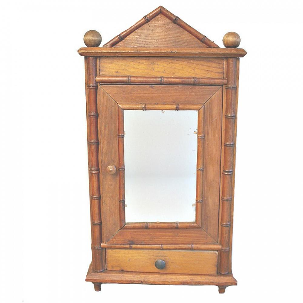 - Antique French Faux Bamboo Doll Armoire