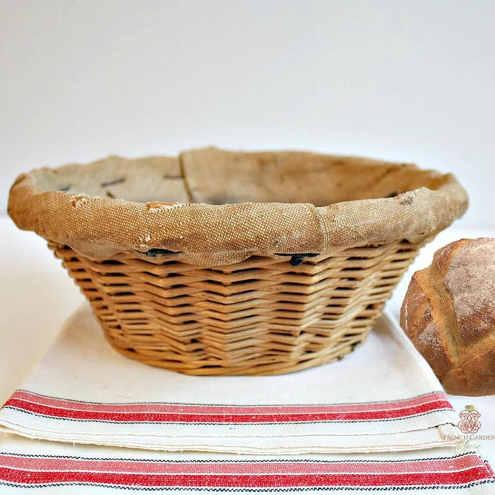 Antique French Baker\'s Wicker Round Bread Basket