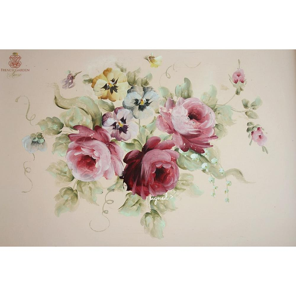 Vintage Shabby Chic Roses and Pansies HP Pink Wood Tole Tray